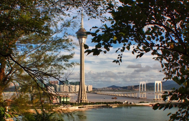 "The Macau Tower and the ""McDonalds"" bridge."