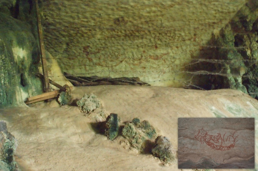 The Painted Cave. Inset: One of the paintings